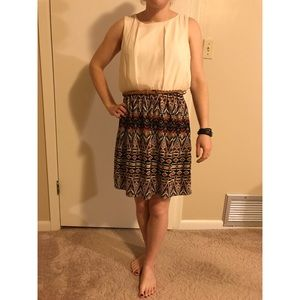 Cream & printed lined dress with brown belt